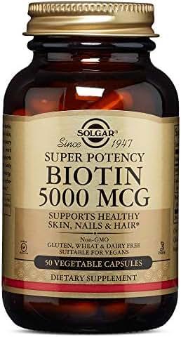 Biotin, 5000 mcg, 50 V Caps by Solgar (Pack of 4)