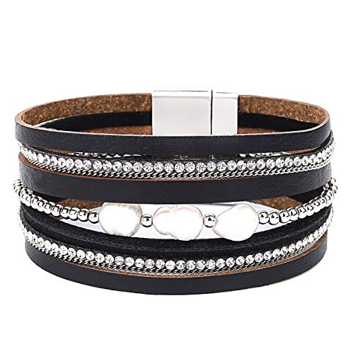 - Womens Leather Cuff Bracelet - Braided Wrap Bangle Handmade Multi Layer Jewelry - with Alloy Magnetic Clasp - Bohemian Gift for Women, Mother,Girls ((Pearls)-Black)