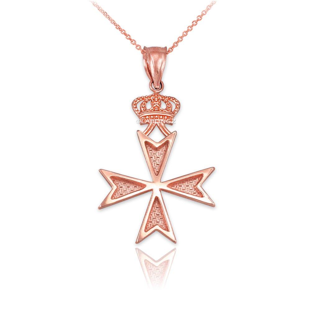 14K Rose Gold Maltese Cross Crown Charm Necklace
