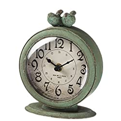 Green Vintage Bird Pair 4.75 x 6 Inch Metal Standard Tabletop Clock