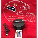 Houston Texans NFL Licensed Logo on Beautiful Acrylic LED Lamp Personalized Football Light Up Light LED Table Lamp, Our Newest Feature - Its WOW, With Remote, 16 Color Options, Dimmer, Free Engraved