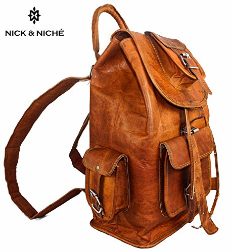 NICK  NICHE Premium Handmade Vintage Style Genuine Leather Travel Bag backpack Cabin Bag 16 inches