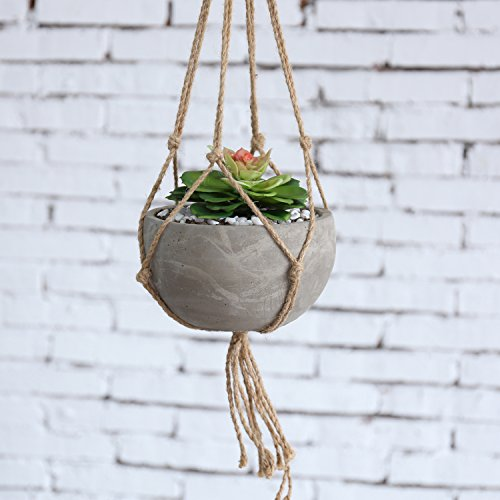 MyGift Industrial Urban Clay Hanging Planter Pot with Knotted Rope Hanger Ceramic Hanging Planters