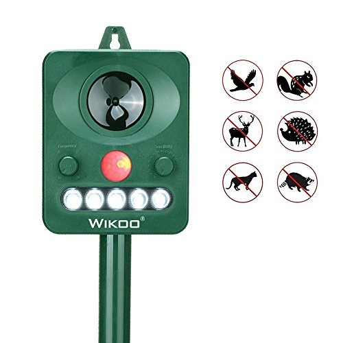Wikoo Ultrasonic Animal Repeller,Solar Powered repellent,Activated with Motion,Ultrasonic and Flashing LED lights Outdoor Waterproof repellent for Dogs,Cats,Foxes,Mice,Birds,Skunks,Etc. (Bird Repeller)