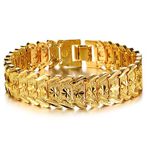 Se7en Man Jewelry Men's Fashion 18K Yellow Gold Plated Link Bracelet Carving Bangle with Flower Design, 8.26 Inch for Men
