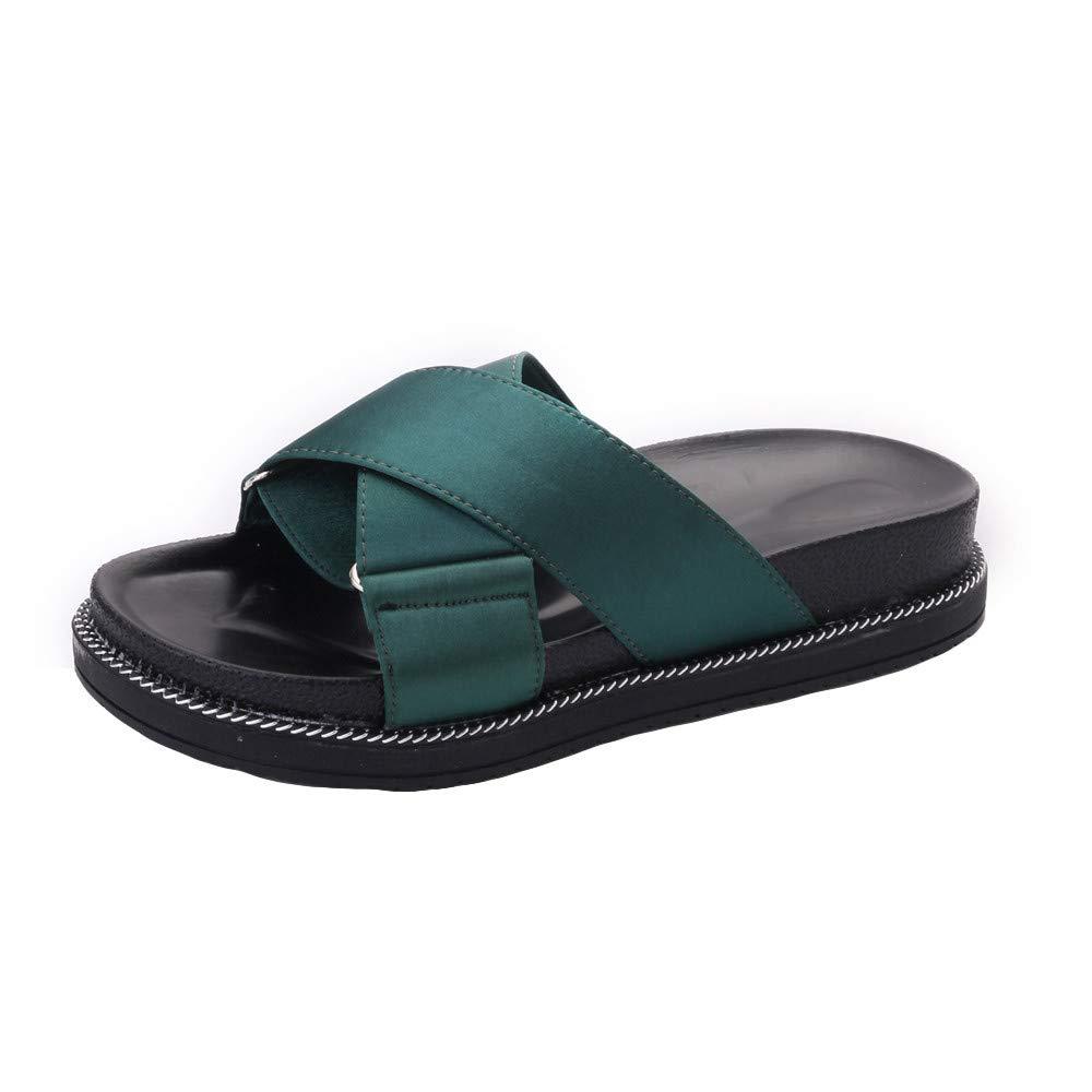 Mysky Fashion Women Summer Classic Pure Color Criss Cross Open Toe Soft Flat Slippers