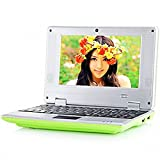 Green NEW 2015 7 Inch MID Android 4.1 Notebook Wm8850 Wvga Screen 4gb ROM Camera Wifi Ethernet Hdmi Mini Laptop 7 Inch Android 4.1 with Installed Wifi to Access Internet (Works with Wifi or Ethernet) and a Built in Camera 7