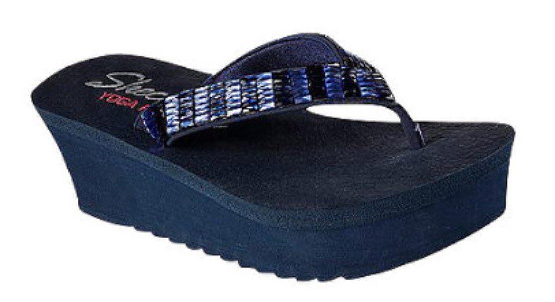Skechers Cali Womens Bandha-Savasana Flip Flop,Navy,10 M US