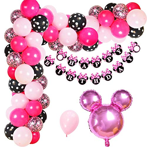 (Minnie Mouse Birthday Decorations Minnie Mouse Balloon Garland Arch Kit for Girls Birthday Baby Shower Supplies)