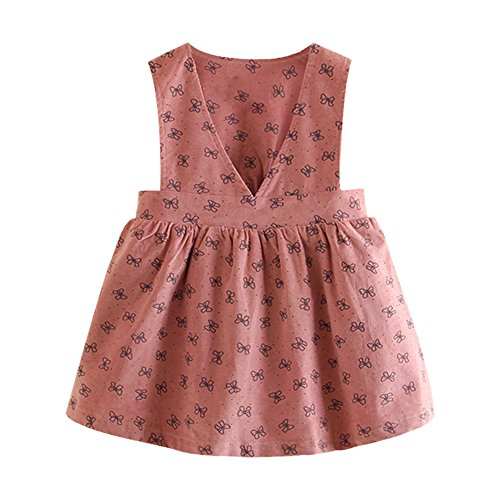 Mud Kingdom Girls Corduroy Uniform V-Neck Pleated Jumper Dress Bowknot Pink 6T ()