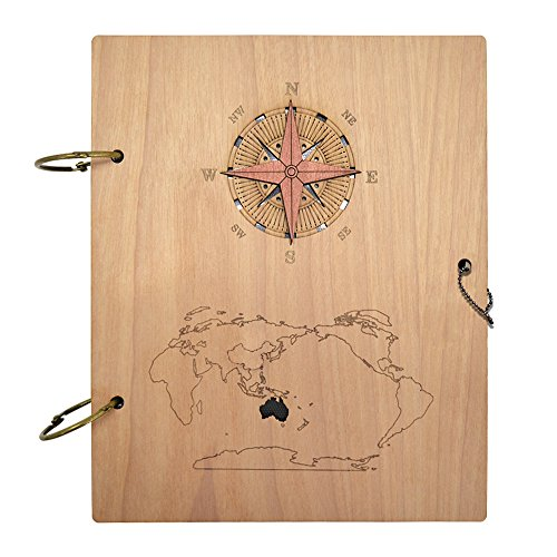 Giftgarden Columbuss Voyage Nautical Photo Album 4x6 Wood Picture Albums Book with 120 Pockets