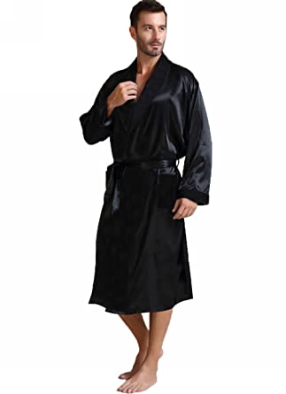 48bb97b074 Lonxu Mens Silk Satin Bathrobe Robe Nightgown Big and Tall S~3XL Plus at  Amazon Men s Clothing store