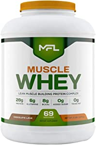 MFL Muscle Whey Protein l 28g of Protein l 8g BCAAs l Keto Friendly l Low Carbs l 5 lbs. (Chocolate Lava)