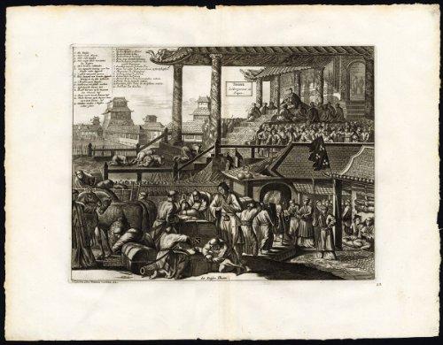 (Rare Antique Print-JAPAN-EMPEROR-COURT-HORSE-Montanus-van der Aa-1725)
