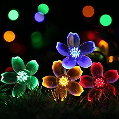 Flower Shaped Solar String Lights (30 LED) for Outdoor Use - Best Decorative Outside Party Lighting for Patio, Fence, Backyard, Lawn or Garden - Colorful Hanging Blossoms Powered by Sun (Multi Color)
