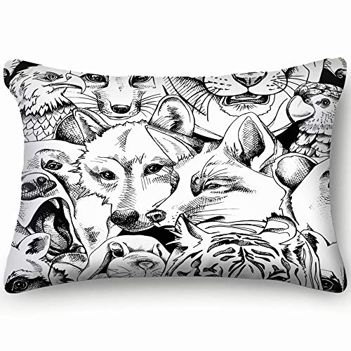 best bags Portrait Bear Tiger Wolf Animals Wildlife Animal Skin Cool Super Soft and Luxury Pillow Cases Covers Sofa Bed Throw Pillow Cover with Envelope Closure 1624 Inch
