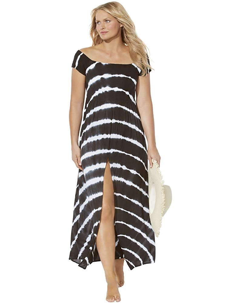 Swimsuits for All Womens Plus Size Tie Dye Maxi Dress Cover Up