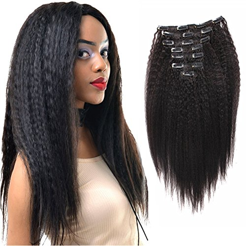 Search : Sassina Unprocessed Virgin Human Hair Clip in Extensions Natural Color Double Wefts 120Grams Kinky Straight Clip on Hair For African American Black Women, KS 12 Inch