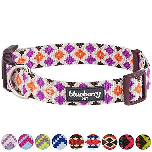 "Blueberry Pet 10 Colors Tribal Pattern Inspired Multicolor Diamonds Designer Dog Collar, Medium, Neck 14.5""-20"", Adjustable Collars for Dogs"