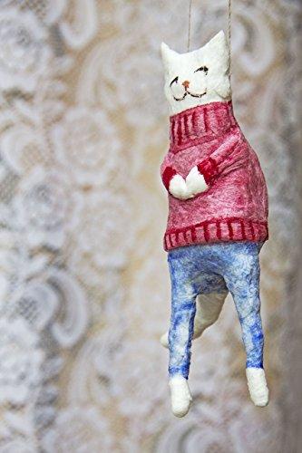 White Cheeky Cat - Spun Cotton Christmas ornament