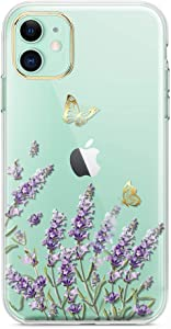 LUOLNH iPhone 11 Case,iPhone 11 Case with Flowers,Shockproof Clear Floral Pattern Hard Back Cover for iPhone 11 6.1 inch 2019 -Lavender/Butterfly