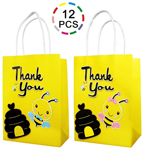 Uniceworld 12Pcs Bee Bags Party Favor Gift Bags Birthday Baby Shower Theme Party Decoration Treat Bags with Handle