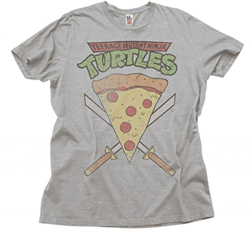 Junk Food Teenage Mutant Ninja Turtles Pizza Slice Adult Heather Gray T-Shirt (Adult -