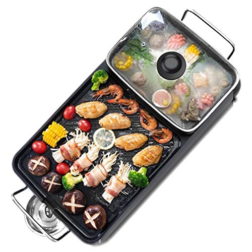 Portable Electric Grill, Electric Barbecue Grill Indoor Hot Pot Chafing Dish, 2 in 1 Large Capacity Household Multifunctional Non-Stick Pan Electric Cooker