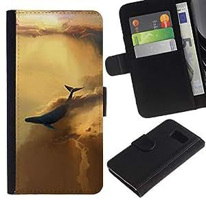 // PHONE CASE GIFT // Moda Estuche Funda de Cuero Billetera Tarjeta de crédito dinero bolsa Cubierta de proteccion Caso Samsung Galaxy S6 / ABSTRACT SKY WHALE /