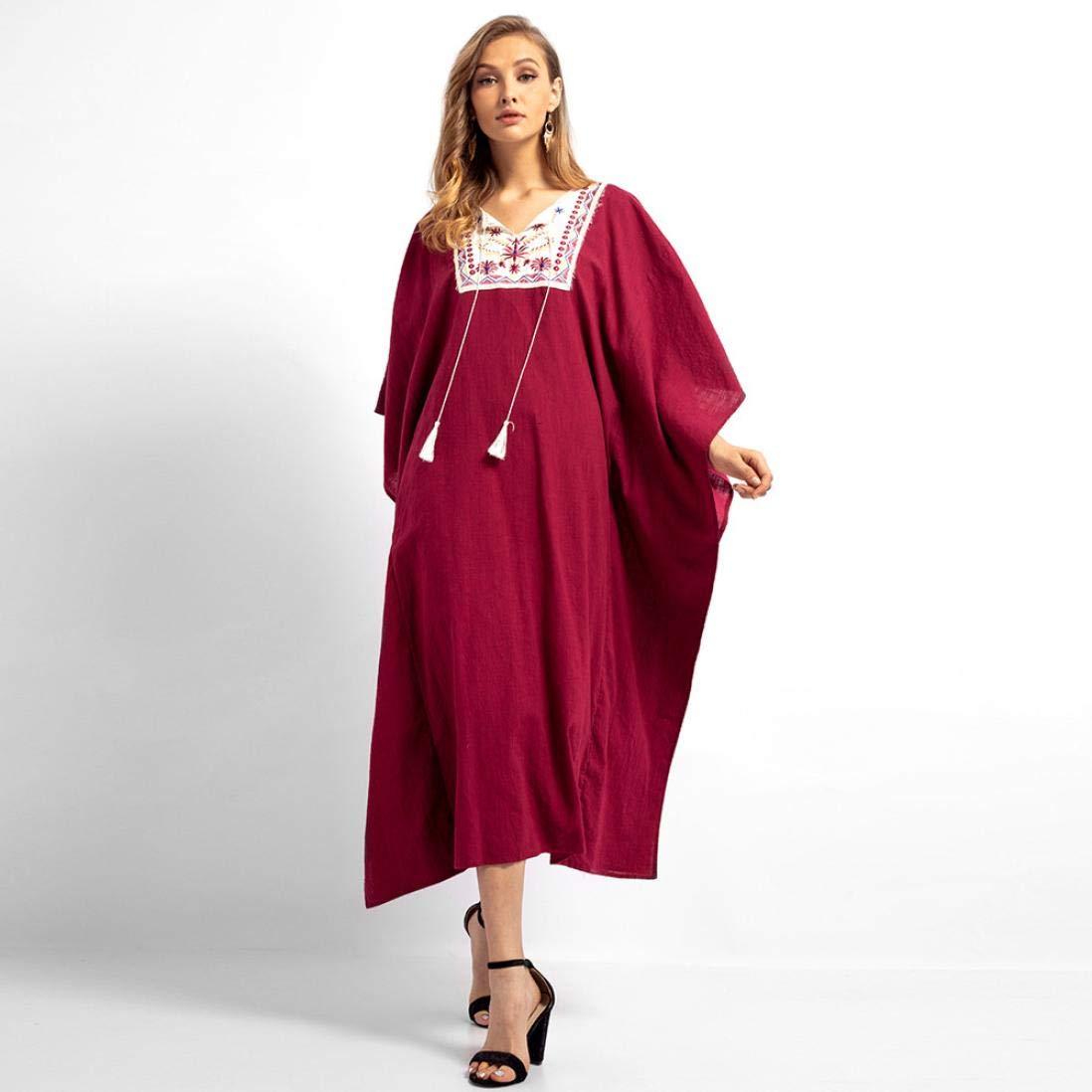 750b2c22982 Gergeos Women Robe Embroidery Tassel V-Neck Long Sleeves Cotton Maxi Dresses  at Amazon Women s Clothing store