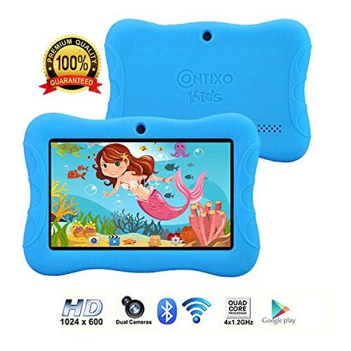 Contixo Kids Tablet K3 | 7'' Display Android 6.0 Bluetooth WiFi Camera Parental Control for Children Infant Toddlers w/Free Tablet Case (Sky Blue) by Contixo