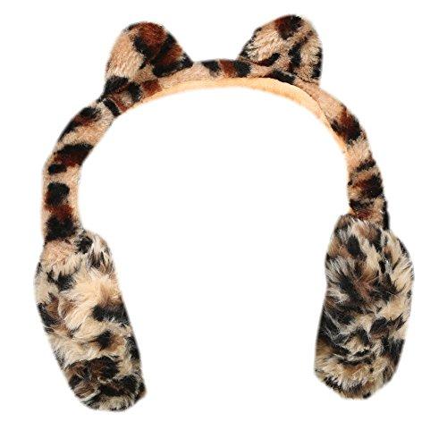 WHAT ON EARTH Fuzzy Leopard-Ear Headphones - Animal Print - Wireless Bluetooth ()