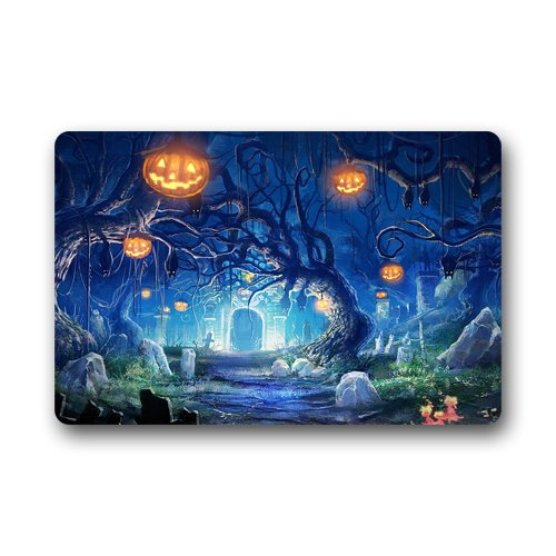 Romantic Simple COLORSFORU Fantasy Halloween Castle Pumpkin Lantern Old Trees Custom Doormat Floor Mat Indoor Outdoor Machine-washable (23.6