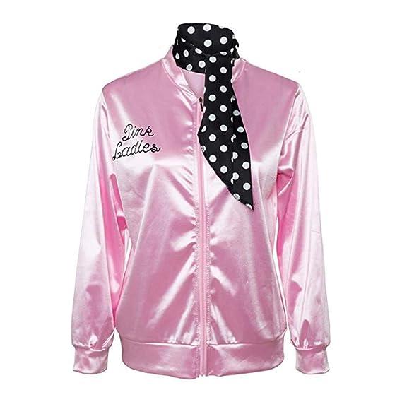 JiaMeng Zipper Danny Pink Ladies Traje de Chaqueta de satén con Bufanda de Lunares Cortaviento con Capucha Camisetas Mujer: Amazon.es: Ropa y accesorios