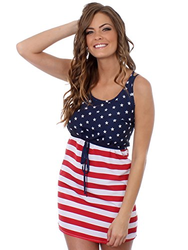 Tipsy Elves Womens American Flag Dress - Patriotic USA Red White and Blue Dress