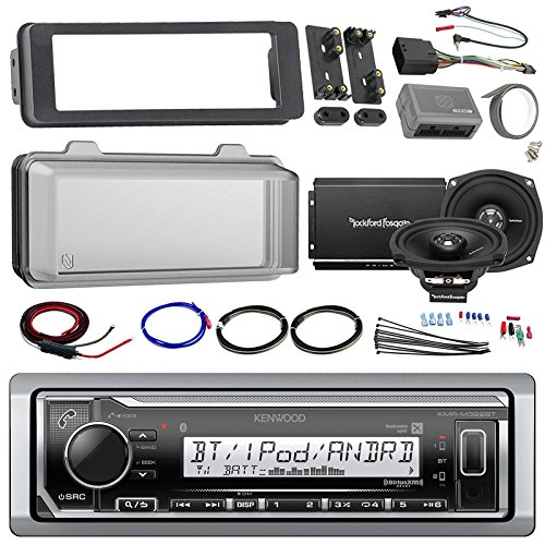 Harley Audio Package Of Kenwood KMR-M315BT Bluetooth MP3 Stereo Receiver Bundle Combo With Dash Trim Kit + Radio Cover + 2x 5.25