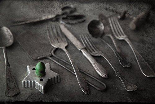 Antique Silverware and Kitchen Utensils - Kitchen and Dining Decor - Still Life Rustic Print - Home Design Wall Art Fine Art Kitchen Art by Leslie Brienza Fine Art and Still Life