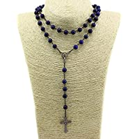 Unique Lapis lazuli Nature Stone Beads Rosary Catholic Necklace Holy Medal & Cross