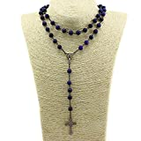 Unique Lapis lazuli Nature Stone Beads Rosary Catholic Necklace Holy Medal & Cross