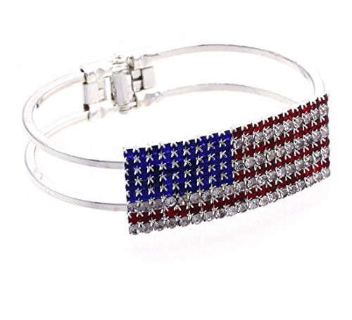 cocojewelry 4th of July USA American Flag Patriotic Red Blue Bangle Cuff Bracelet