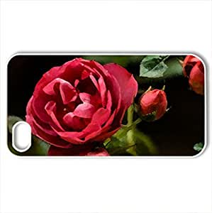 RED ROSCase For Iphone 4/4S Cover (Flowers Series, Watercolor style, White)