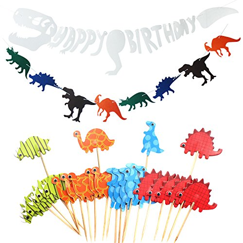 Dinosaur Party Decoration Supplies,Happy Birthday Banner,Dinosaur Non-Woven Fabric Banner,Animal Cupcake Toppers Picks For Kids Adults(26 Packs) (Dinosaur Party Food)