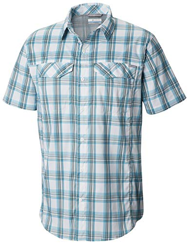 (Columbia Men's Silver Ridge Lite Plaid Short Sleeve, Modern Turq Buff Check, Medium)