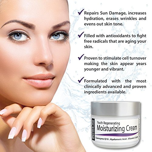 Anti Aging Cream For Face - Best Moisturizing Cream and Wrinkle Treatment - Skin Cream for Dry Skin - Filled with Organic Antioxidants + CoQ10 + Hyaluronic Acid + Vitamins - 2oz