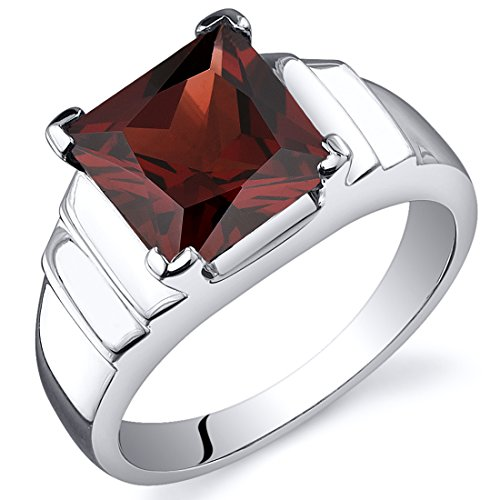 Garnet Solitaire (Garnet Princess Ring Sterling Silver Rhodium Nickel Finish 3.00 Carats Size 9)