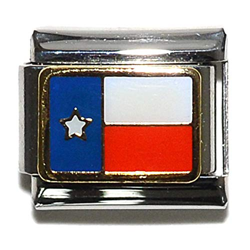 (Dolceoro Texas State Flag Gold Plated Alloy, on 9mm Stainless Steel Italian Charm Link)