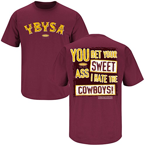 (Smack Apparel Washington Football Fans. YBYSA I Hate the Cowboys Maroon T-Shirt (X-Large))