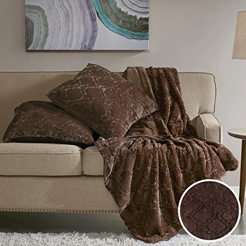 Comfort Spaces Faux Fur Throw Blanket Set – Ogee Fluffy Plush Blankets for Couch and Bed – Chocolate Size 50