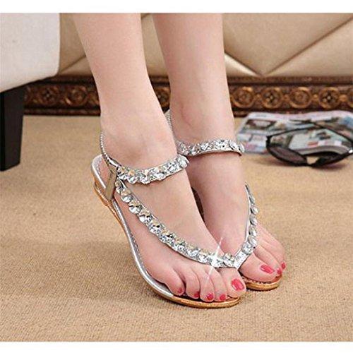 forme d'été Flops Flip Argent Chaussures Wedges Femme Sandales Brillant Vovotrade Flats Rhinestone Plate OEYxPq