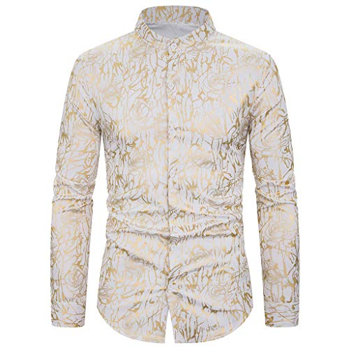 iLXHD Men Button Down Shirt Fashion Printing Blazer Slim Fit Long Sleeve Turn-Down Collar Shirts KA-15 White
